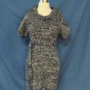 Sweater Project Short Sleeve Cowl Neck Knit Dress